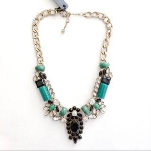 Jcrew green jade statement necklace